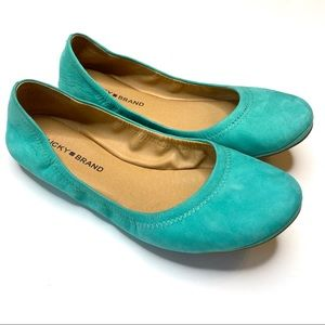 NEW LUCKY BRAND Leather Ballet Flats Teal Blue 9